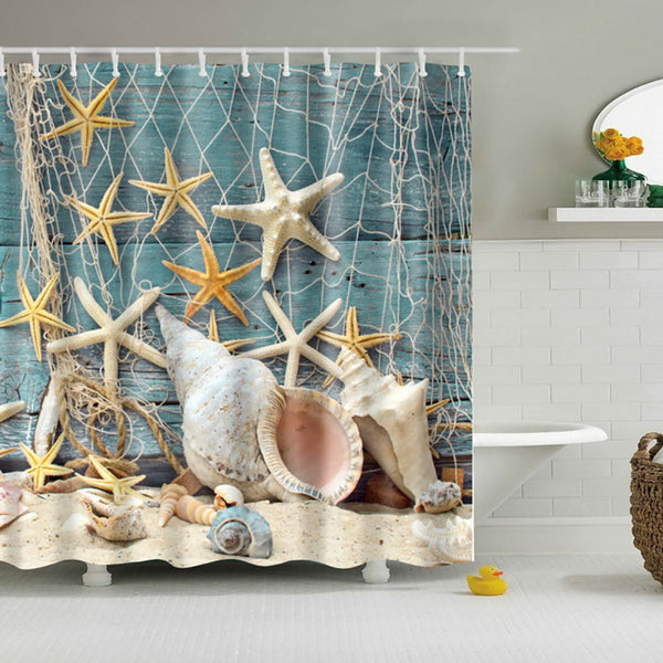 Waterproof Bath Curtains Modern Beach Shells /Custom Distinctive Cartoon African Woman Waterproof