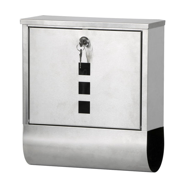 Waterproof Stainless Steel Lockable Mailbox Newspaper Holder Outdoor Mail Post Letter Box