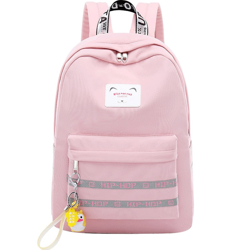 288a90a10 Waterproof Women Backpack Striped Letter Lady Daypacks Middle School S –  Beal | Daily Deals For Moms