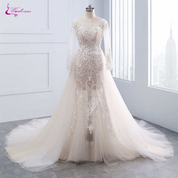 Waulizane Chic Tulle Bridal Gown Exquisite Embroidery 2017 O-Neck 2 In 1 Detachable Train Wedding