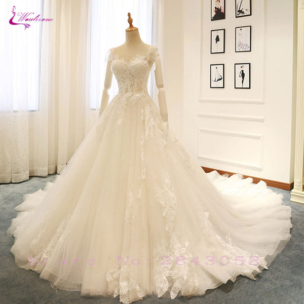 Waulizane Elegant Tulle V-Neck A-Line Wedding Dresses Embroidery Appliques Lace Sleeveless Lace Up