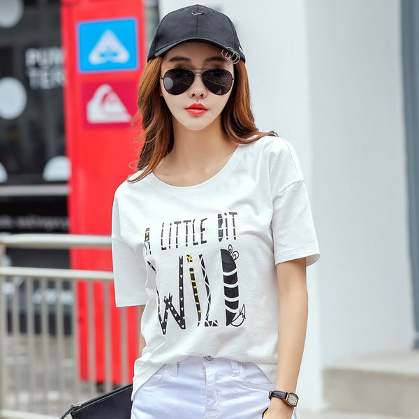 White Cotton T-Shirts 2017 Summer Women T-Shirt Letter Printed Loose Base Casual Short Sleeve O-Neck Tees Tops CS389