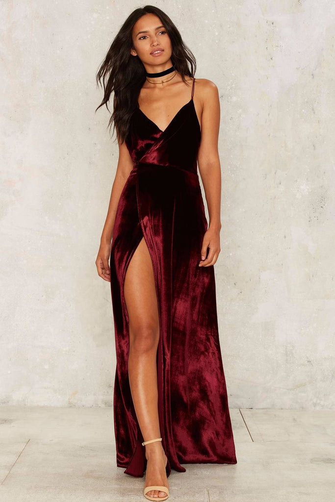 7e0badf10e4 Wine Red Backless Spaghetti Strap Sleeveless Dress Sexy V neck Women Long  Dress 2018 Floor-Length. Availability   In stock