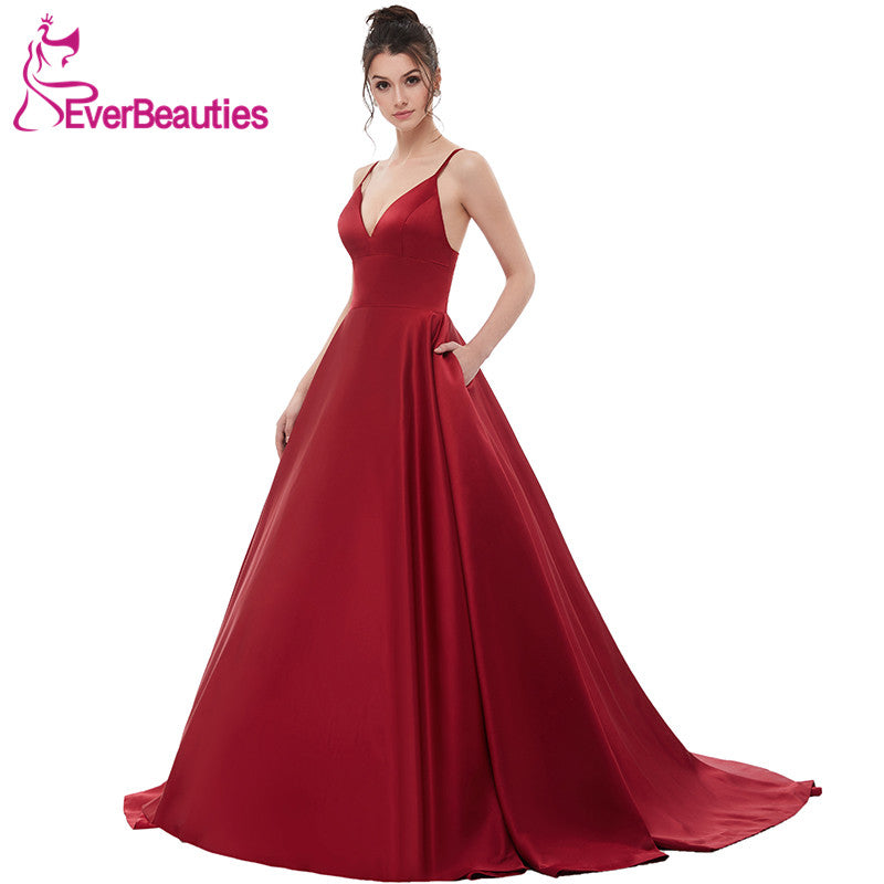 Wine Red Sexy Satin Evening Dresses Long 2018 A line Prom Dresses Evening  Party Gown Open Back Robe De Soiree with Pockets – Beal  ef4ff19df