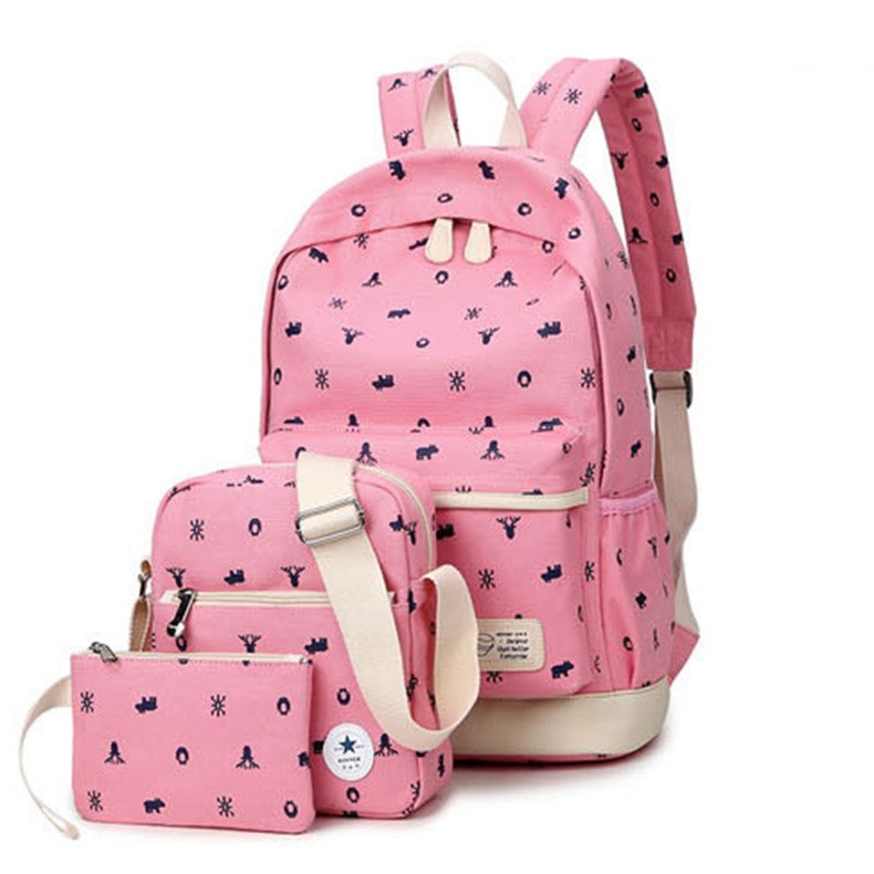 1dd374a346 Winner Brand Designer Canvas Animal Print Backpacks Set School Bags for  Teenagers Girl Bookbags