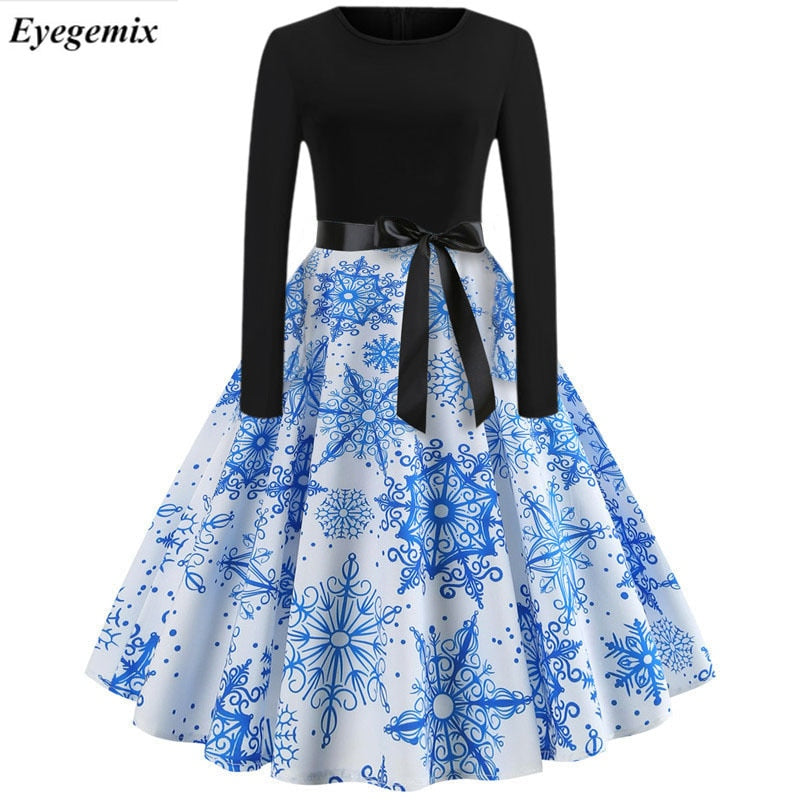 488b0a1726 Winter Christmas Dresses Women 50S 60S Vintage Robe Swing Pinup ...