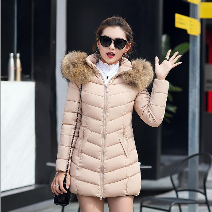 a7acea01290b5 Winter Female Big Fur Collar Hooded Coat Plus Size Thick Cotton Warm ...