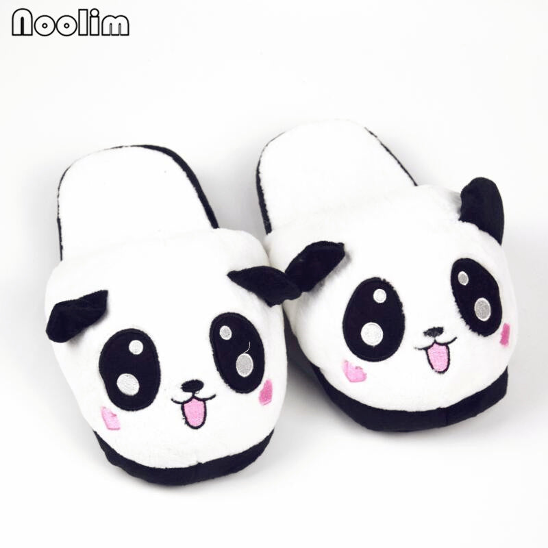 fa297237f2c8d Winter Indoor Panda Slippers Flat Furry Home Cartoon Women emoji Plush  Slippers unisex Couple Animal Warm Non-slip Shoes – Beal
