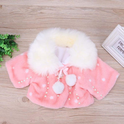 Winter Newborn Baby Girls Coat 4/5 Sleeves Infant Toddler Jackets Girls Christmas Clothes Inlaid Beads Fur Collar Outwear