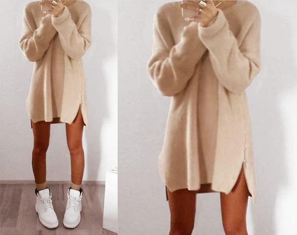 Winter Warm 2018 Casual Fashion Women Dress Long Sleeve O-neck Irregular Dress Zipper Solid Color Short Sweater Dress Vestidos