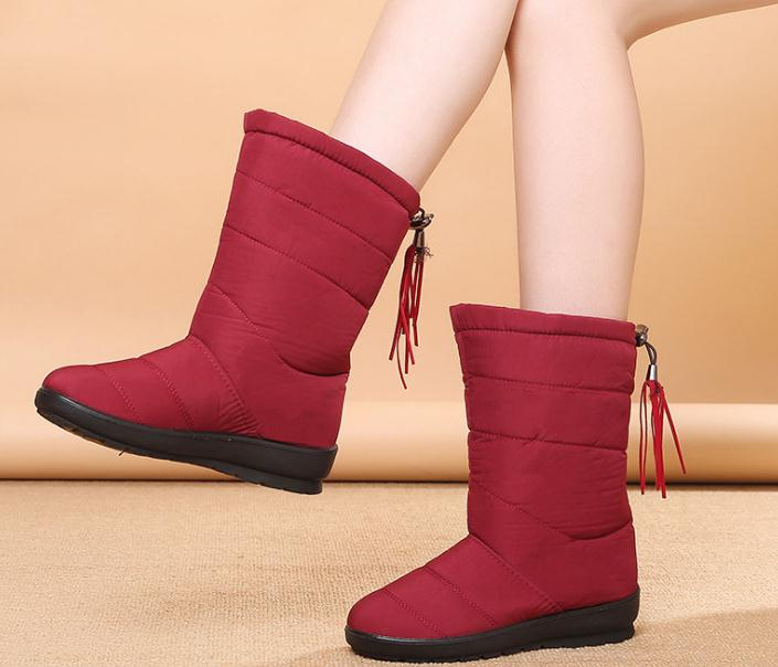 ba786f072845 Winter Women Boots Female Waterproof Tassel Ankle Boots Down Snow Boots  Ladies Shoes Woman Warm Fur Botas Mujer Elastic Band – Beal