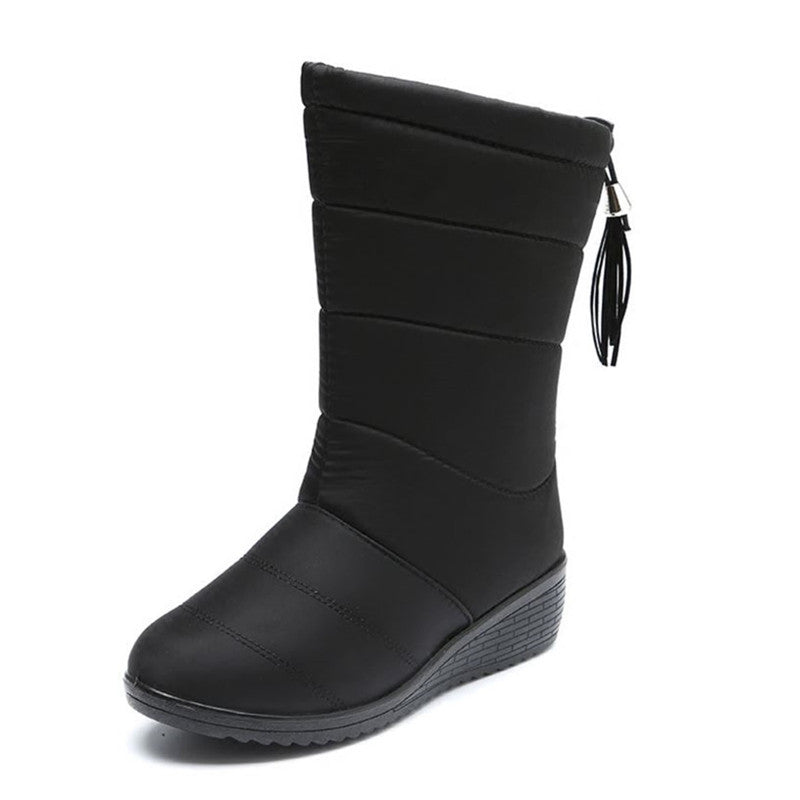 fb1678f135405 Winter Women Boots Female Waterproof Tassel Ankle Boots Down Snow Boots  Ladies Shoes Woman Warm Fur Botas Mujer Elastic Band T98 – Beal | Daily  Deals For ...