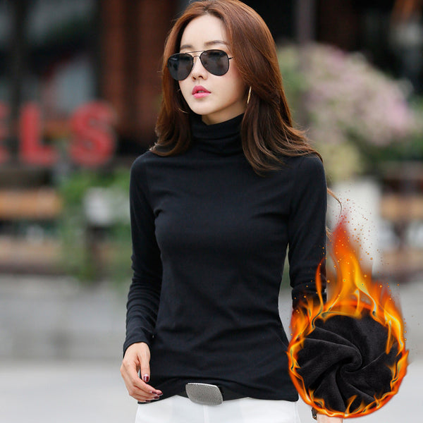 Winter Women Turtleneck Cashmere Tops Long Sleeve Cotton T Shirt Casual t-shirt women 2017 Basic Thickening Tees Shirts Big Size
