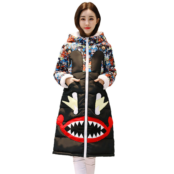 Winter down cotton hooded jackets women's 2018 new cartoon print cotton-padded jacket coat