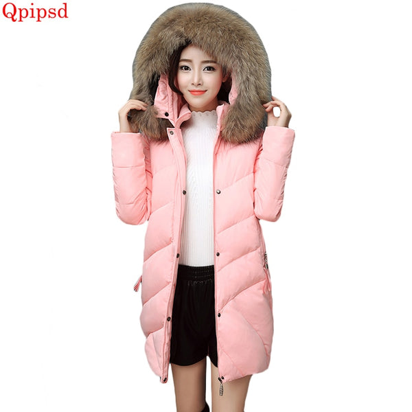 Winter jackets 2018 Korean long hooded big fur collar jackets womens thicken warm down jacket