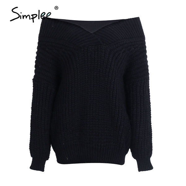 Winter warm v neck knitted sweater jumper Women thick long sleeve pullover pull femme Sexy