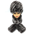 Winter women warm real rex rabbit fur hat with natural rex rabbit fur scarf 2 pieces sets fashion headgear and muffler
