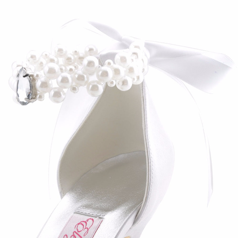 07d24f27c Woman Bridal Wedding Shoes White Ivory High Heel Platform Round Toe Pearls Ankle  Strap Bow Satin Lady Prom Evening Pumps EP11074 – Beal | Daily Deals For ...