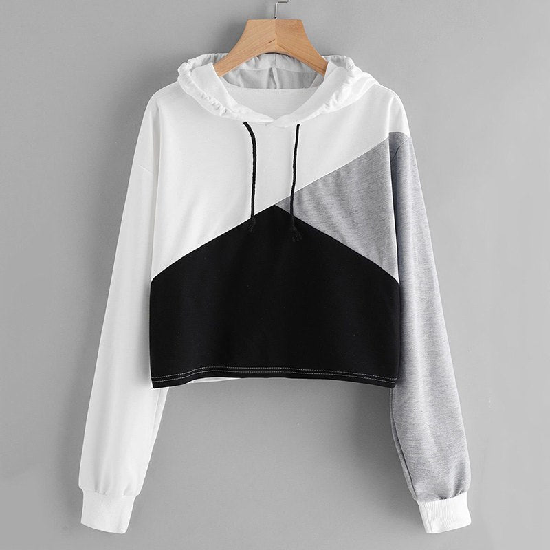 8b5dd5711 Woman Sweatshirt Patchwork Crop Top Hoodie Cropped Sweatshirt Women ...