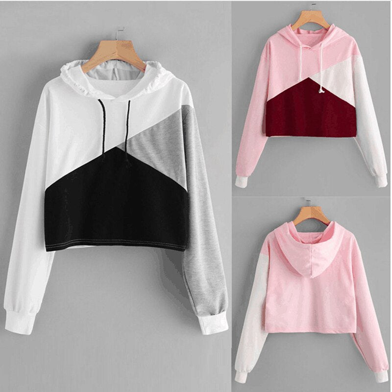 3a6b81456 Woman Sweatshirt Patchwork Crop Top Hoodie Cropped Sweatshirt Women Cute  Women Tracksuit Harajuku Sudaderas Mujer – Beal | Daily Deals For Moms