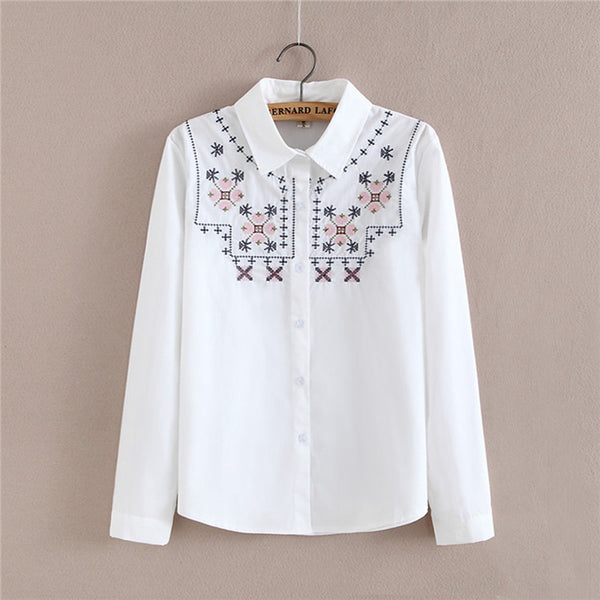 Women Autumn shirt high quality Embroidery Long Sleeve Work white turn down collar Shirts Women office Blouse Tops for business
