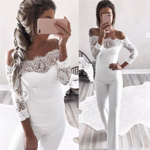 4a878da1138 Women Backless Off Shoulder Lace Bodycon Ruffles Party Jumpsuit Romper –  Beal