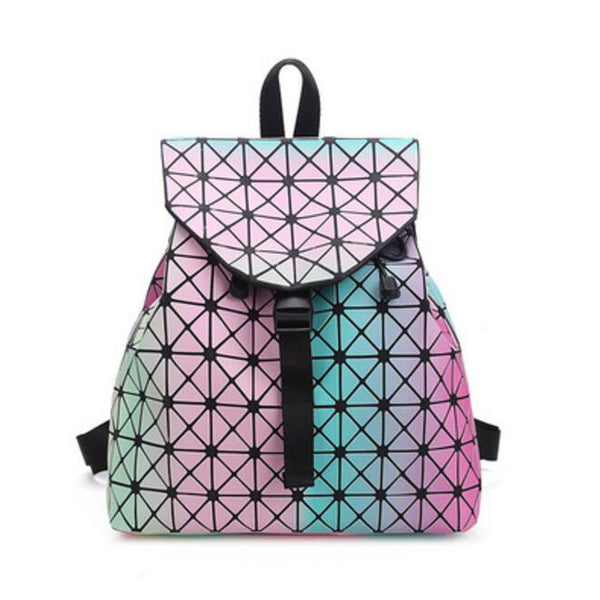 Women Backpack Feminine Geometric Plaid Sequin Female Backpacks For Teenage Girls Bagpack