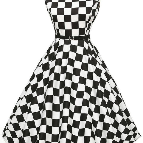 Women Black White Plaid Dresses Female Elegant Vintage Pinup Audrey Hepburn Style 50s 60s Gown