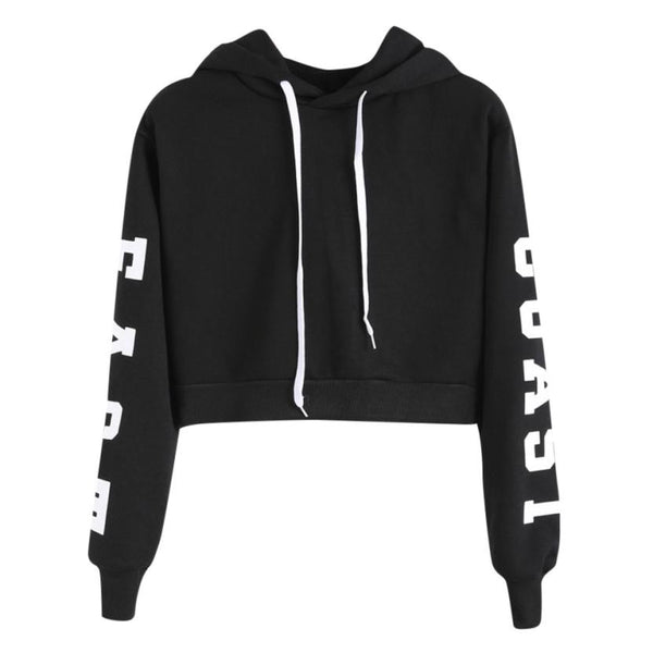 Women Cool Cropped Hoodie Letters Long Sleeve Hoodie Lady Casual Sweatshirt Girls Short Pullover