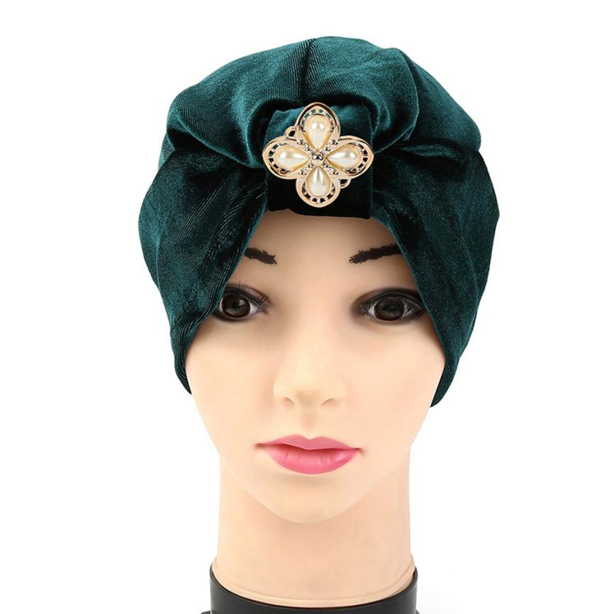 89588cc295e83 Women Diamonds Muslim Ruffle Cancer Chemo Hat Beanie Scarf Turban Head Wrap Cap  Hats for women Gorros mujer invierno Casquette – Beal