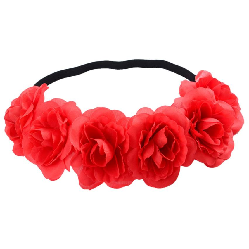 Women Flower Hair Garland Crown Headband Floral Wreath Hairband