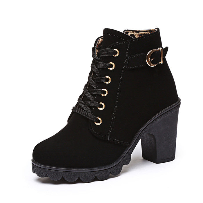 Women High Heel Boots Fashion Ankle Boots For Women Boots 2018 Winter Boots  Female Autumn Thick
