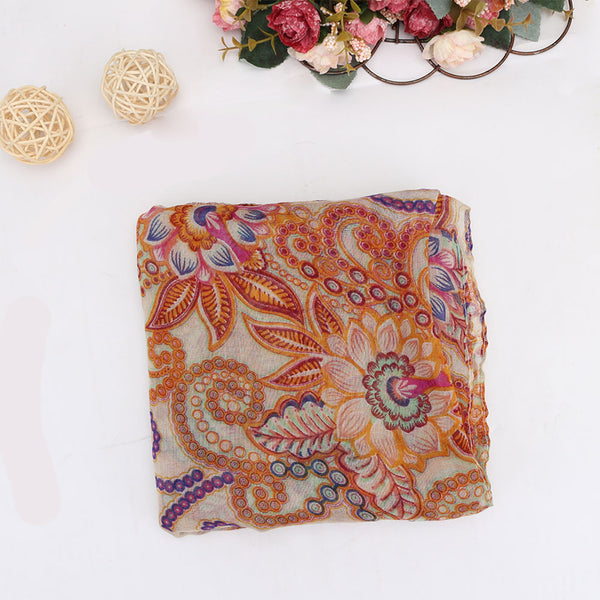 Women Lady's Scarf Retro Bohemian Totem Flowers Shawl Long Neck Wrap