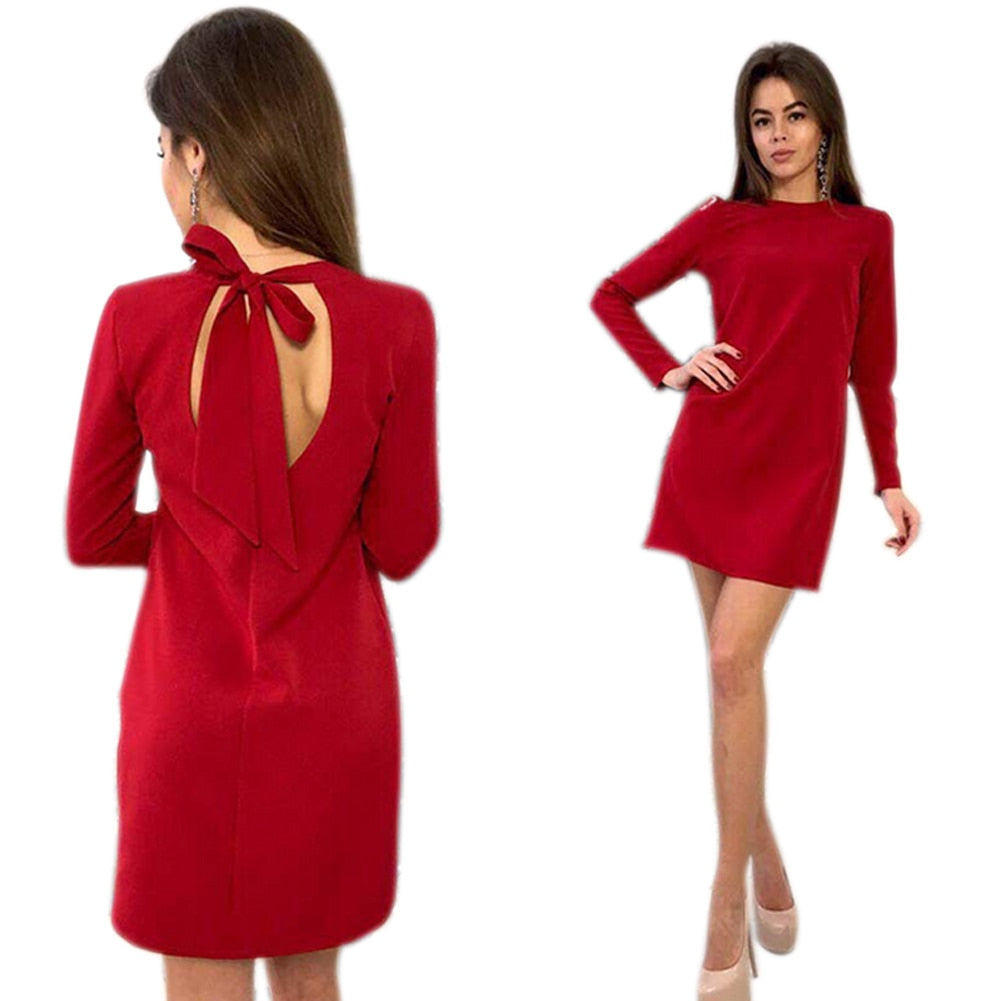 fff0c16bfff Women Long Sleeve Dress Sexy Hollow Back Solid Straight Casual Bandage  Party Dresses AIC88