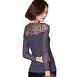 Women Plus Size Lace Crochet Tops Camisa Feminina Spring Autumn Sexy Mesh Blusa Long Sleeve Thin Elegant O Neck Shirt 2016 A426