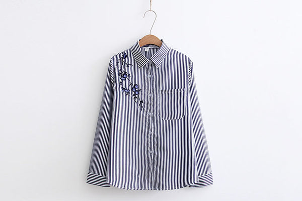 Women Quality Long Sleeve Striped Blouses Casual Plum Embroidery Shirt BRAND Cotton Long OFFICE Woman Shirts Chemisier Blusas