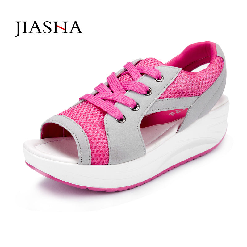 56414792b4 Women Sandals wedges shoes 2016 hot new breathable mesh Fish head shoes  woman Sandals