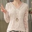 Women Sexy Plus Size Lace Blouse 2016 New Spring Autumn Fashion Long Sleeve Blusa Slim Casual V Neck Crochet Women Clothes A621
