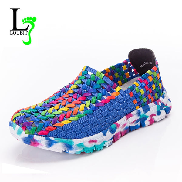 Women Shoes Summer Flats Female Loafers Women Casual Flat Woven Shoe Brethable Sneakers Slip On