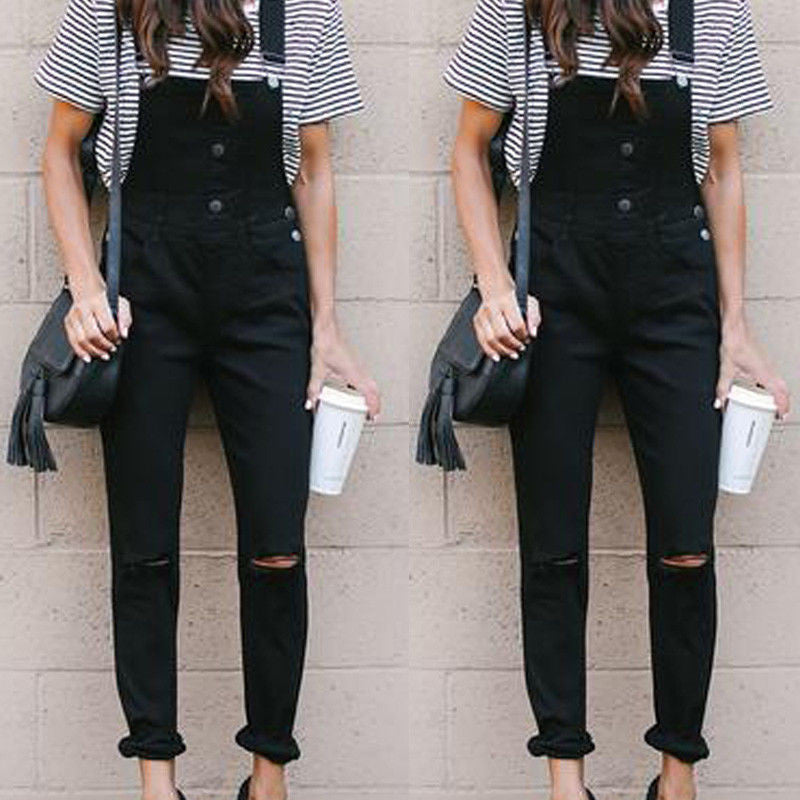 20e2adc2996 Women Sleeveless Holes Destroyed Baggy Denim Bib Jumpsuit Romper Butto –  Beal