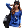 Women Spring Autumn Slim Tops Long Sleeve Camisas Femininas 2016 Fashion Korean O Neck T Shirt For Women Clothing A570