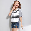 Women Striped T Shirt Summer Fashion Loose Patchwork Irregular T-Shirt Short Sleeve V Neck Tops Camisetas Mujer A255
