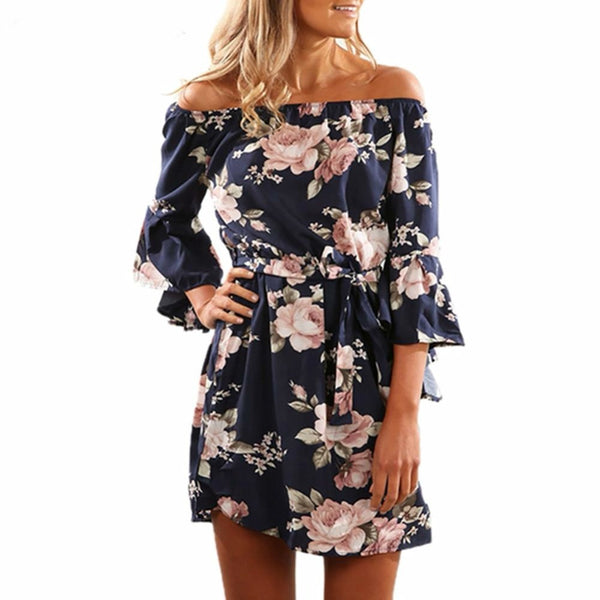 Women Summer 2018 Beach Floral Boho Dress Loose Printing Sexy Off the Shoulder Flare Sleeve