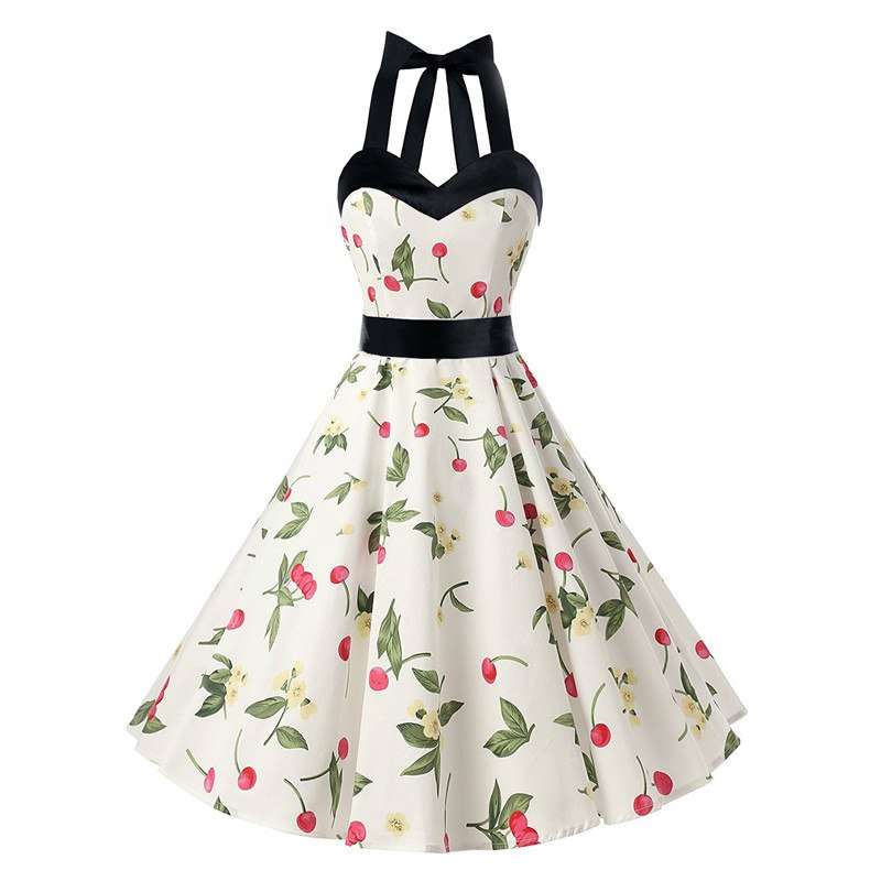 dcbdd7b7af4ba Women Summer Dresses 2019 Women Sexy Floral Retro Vintage Dresses 50s 60s  Casual Party Robe