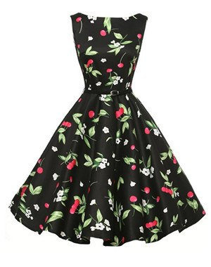 Women Summer Floral Print Retro Vintage 50s 60s Party Rockabilly Pinup  Dresses Ladies Swing