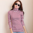 Women T-shirt Long Sleeve Turtleneck T shirt For Woman Tops 2017 Winter Tee Shirt Femme Striped Clothes Casual Camisetas Mujer