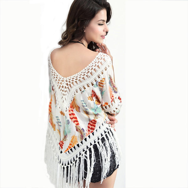 Women Tassel Blousas New Summer Spring Boho Feathers Print Hollow Out Tops Sexy Batwing Sleeve Beach Cover Up Tops Shirts  A184