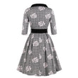 Women Vintage Dress Floral Print Summer Patchwork Bow Collar Daily Fashion Dress Short