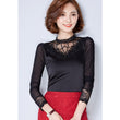 Women Vintage Silk Basic Tops Long Sleeve Stand Collar Diamonds Lace Mesh Blusa Shirt Fashion Slim Office Top Blouses 2016 A950
