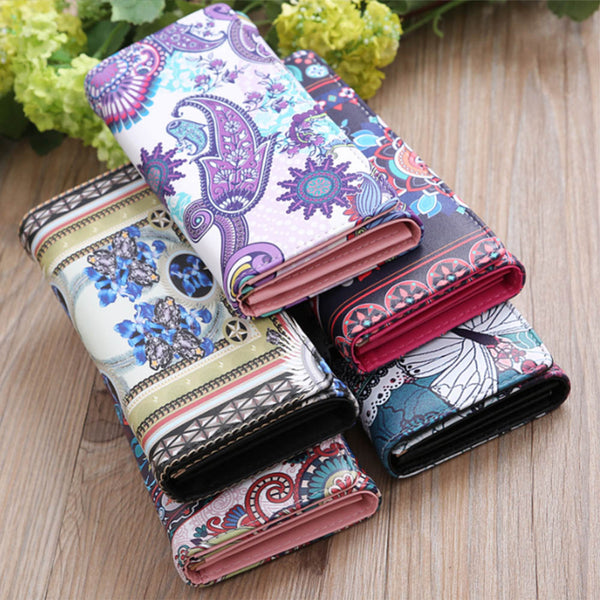 Women Wallets National Retro Purse  Leather Korean Students Long Purse Vintage Phone Cards Holder Clutch Day Clutch Handbag